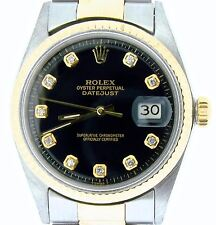Rolex Datejust Mens 2Tone Gold & Stainless Steel w/ Black Diamond Dial 1601