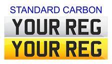 Pair Standard Number Plates STANDARD CARBON LETTERS 100% MOT Legal - FREE POST