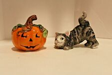 Fitz & Floyd - Halloween Kitty Salt & Pepper Shakers - Euc - No box - See Desc