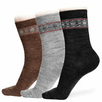 Alpaca Wool Socks 2X PAIRS for Women with Nordic Pattern - Casual & Warm