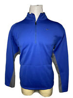 Nike Large L Blue Sphere-Dry 1/4 Zip Men's Mock Pullover Pouch Golf Sweat Shirt