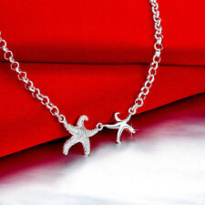 Elegant Wholesale 925 Sterling Silver Filled ;Lovely Starfish Pendant  Necklace