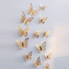 12 x 3D Set Schmetterlinge Gold Wandtattoo Deko Aufkleber Weihnachten Sticker