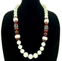 """Monet 30"""" Chunky Lucite Moonlight Red Bead Necklace Vintage"""