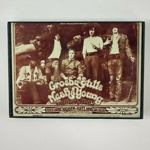"""Crosby Stills Nash Young 5"""" x 7"""" Mini Concert Framed Poster Reprint"""