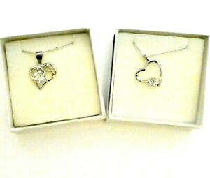 Clear Crystal Platinum Plated Heart Bridesmaid Flower Girl Necklace Boxed Gift