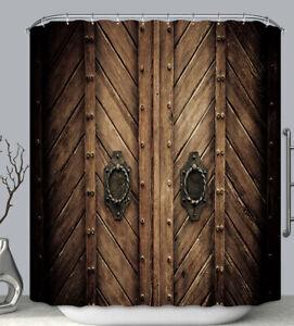 Brown Wood Doors Fabric SHOWER CURTAIN 70x70 w.Hooks Rustic Vintage Castle