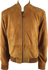 UNICORN Mens Bomber Jacket - Real Suede Leather - Tan #JW