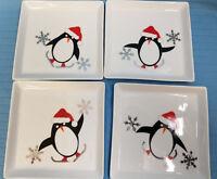 Crate & Barrel Penguin Santa Hat Christmas Dessert Appetizer Plates Set of 4