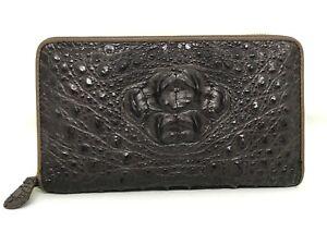 Genuine Crocodile Alligator Skin Leather Zipper Purse Clutch/Long Wallet