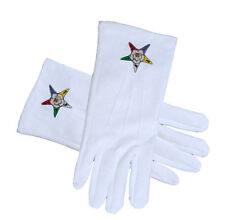 OES Classic Star Face Cotton White Gloves. Order of the Eastern Star Regalia