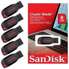 Lot of 5 SanDisk 8GB Cruzer Blade USB Flash Drive Memory SDCZ50-008G-B35 Retail