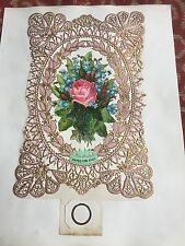 1860s large ornate valentines card - united for ever ! pink lace !