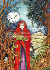 Yule Christmas card Dragon Lady Pagan Solstice Gwen Davies UK artist