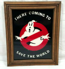 Vintage Ghostbusters Logo Wall Art Picture Frame Display Sign Glass Poster Vgc