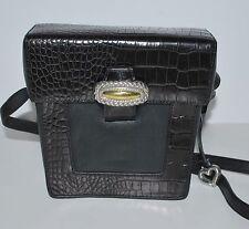 Brighton Light Black Leather Croc embossed Box Purse Handbag Cute box shape