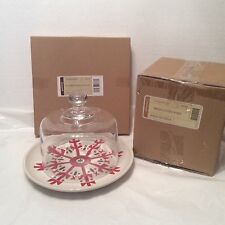 Glass Dome & Ivory Snowflake Lunch Plate Longaberger 4 Cheese Hors d'oeuvres New