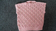 "Ladies New Hand Knitted Pink/Cream Sleeveless Jumper Top 40-42"" chest"