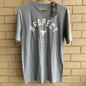 """Under Armour Project Rock """"Respect Always Earned"""" Shirt 1347698-035 -Size Medium"""