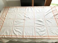 GORGEOUS LARGE VINTAGE EMBROIDERED WHITE CHECKED LINEN TABLECLOTH 68X88 INCHES