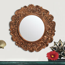 Antique style Unusual Wall Decoration Mirror 38cm Round, Engraved Metal, Glass