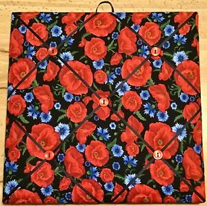 French Bulletin Board Photo Memo Black Floral Red Poppies Print 10 x 10 inches