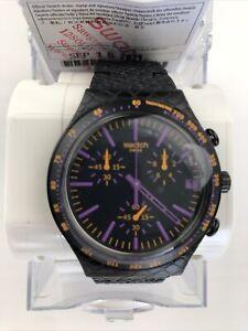 "Swatch: Irony-Chrono "" Reptile Violet "" (YCB4015AG) Black New. MRSP $175"