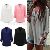 S-5XL Zanzea Womens Long Sleeve Chiffon Blouse Casual Loose Shirt Blouse