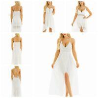 Ladies Womens Summer Holiday Sleeveless V-neck Sundress Beach Party Midi Dress