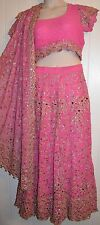 3pc Pink Anarkali Salwar Kameez Suit Dress Sari Indian Lenga Choli Lehenga (#13)