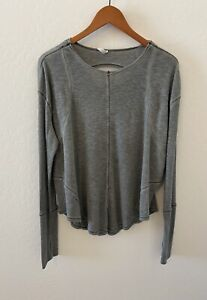 Free People FP Movement Lay Up Tee long sleeve Top open back Sz L distressed
