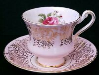 Vintage Paragon Bone China Footed Ribbed Tea Cup & Saucer Pink w/Gold Scrolls