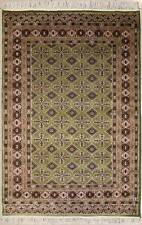 Rugstc 4x6 Bokhara Jaldar Green Area Rug, Hand-Knotted,Geometric with Silk/Wool