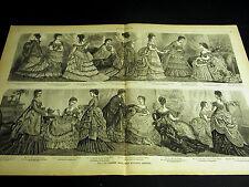 Victorian Ladies Fashion 1873 BALL and EVENING DRESSES Large Folio Print