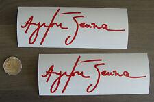 2x stickers Auto Signature Ayrton Senna Rouge14cm B12-027
