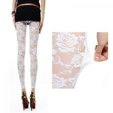 Romantic Rose Flower Gothic Lace Hollow-out See-through Leggings Pants Women NEW