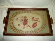 Antique 19th Century Primitive Needlepoint Sampler Roses 1876 Glass Wood Tray