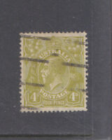 AUSTRALIA-1929-KGV-4d OLIVE-SG 102-(PERF 13.5 x 12.5)-FINE USED-$4-freepost