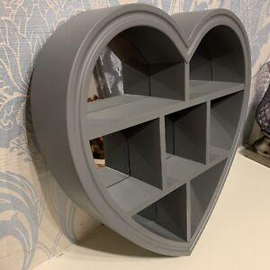 GREY HEART MIRROR SHELF 6 SECTIONS BED BATH ROOM HEART SHAPE WALL MIRROR SHELF
