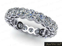 5.1Ct Round Diamond Shared Gallery Eternity Wedding Band Ring 14k Gold H SI2