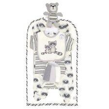Cutie Pie Baby Boy 9PC Layette Gift Set Gray Raccoon Cotton Sleeper Blanket 0-3M