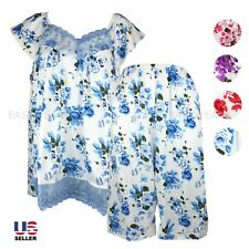Women Cotton Pajamas Set 2Pcs Top & Bottom Short Sleepwear Nightwear Floral Lace