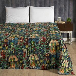 Black Kantha Bedding Quilt Mexican Farida Kahlo Bedspread Coverlet Blanket Throw