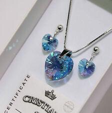Blau Herz Original Swarovski Elements Kette Anhänger Ohrringe Damen-Geschenk .