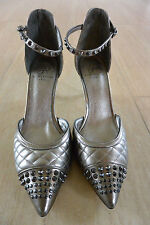 NEW Adrianna Papell Quilted Leather Studded Ankle Strap Heels in Pewter Size 8