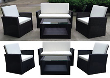 Rattan Garden Furniture Weave Wicker Sofa Set Conservatory Set Black Brown Roma