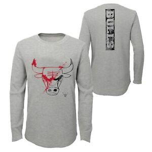 Outerstuff NBA Youth 8-20 Chicago Bulls Black Out Waffle Knit Thermal Tee Shirt