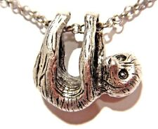 SILVER BABY SLOTH NECKLACE hanging animal pendant charm chain necklace nature 3F