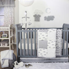 Grey Cloud and Geometric Patch 3 Piece Baby Crib Bedding Set by The Peanut Shell