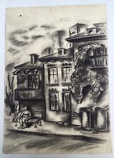 Painting From Europe:Traditional Balkan Town House & Sitting Man Pencil Crayons